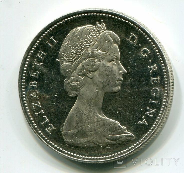 Канада 1 доллар 1966 г. Серебро Каноэ, фото №3