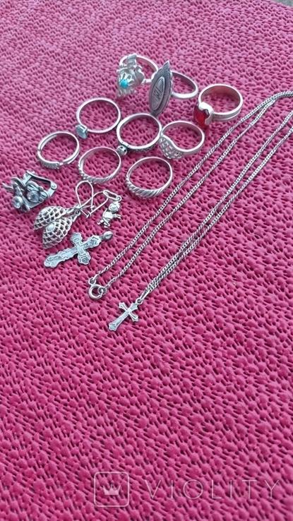 Лот серебряных ювелирных изделий, фото №5
