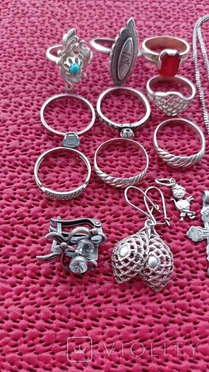 Лот серебряных ювелирных изделий, фото №7