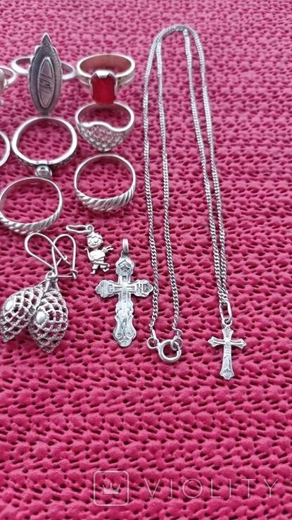 Лот серебряных ювелирных изделий, фото №8