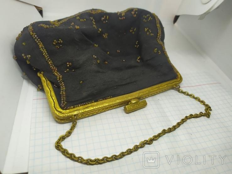 Вечерняя винтажная сумочка с латунной застежкой и цепочкой, фото №2