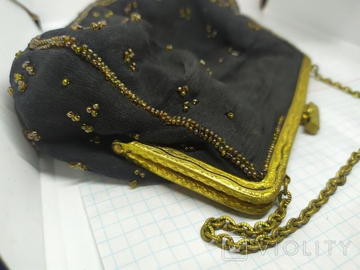 Вечерняя винтажная сумочка с латунной застежкой и цепочкой, фото №5