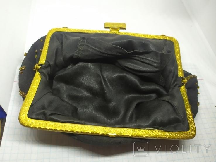 Вечерняя винтажная сумочка с латунной застежкой и цепочкой, фото №10