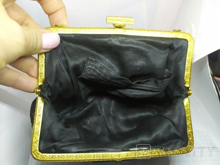 Вечерняя винтажная сумочка с латунной застежкой и цепочкой, фото №11