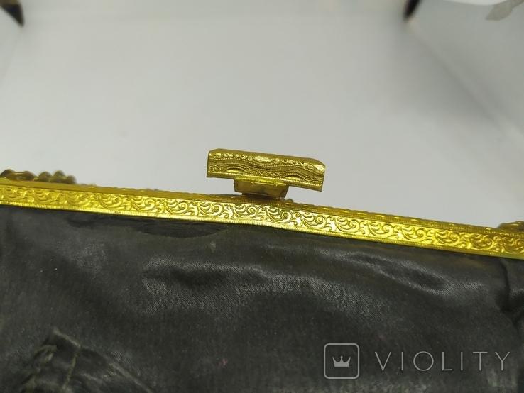 Вечерняя винтажная сумочка с латунной застежкой и цепочкой, фото №12