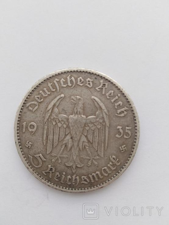 """5 Рейхсмарок 1935 г. """"Гарнизонная церковь в Потсдаме"""", фото №3"""