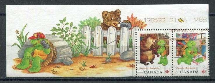 Марки гашеные Канада детские книги иллюстрации животные бобры черепахи