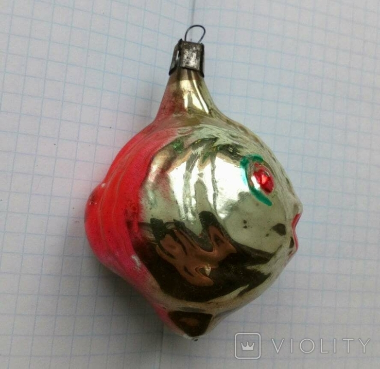 Елочная игрушка Рыбка с красными глазами СССР 1959 г., фото №2