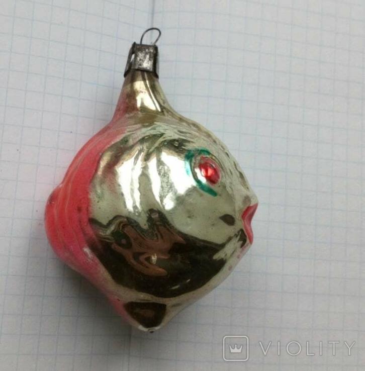 Елочная игрушка Рыбка с красными глазами СССР 1959 г., фото №3
