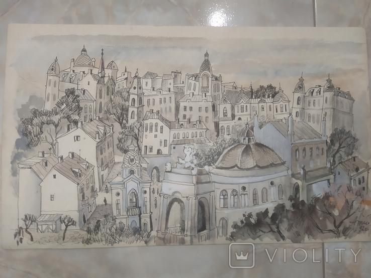 Картина Одесса Графика Мельничук, 28х47 см, фото №3