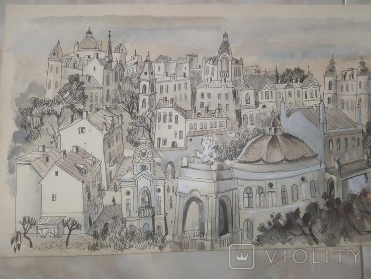 Картина Одесса Графика Мельничук, 28х47 см, фото №5