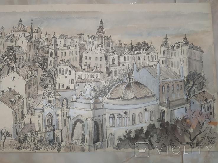 Картина Одесса Графика Мельничук, 28х47 см, фото №6