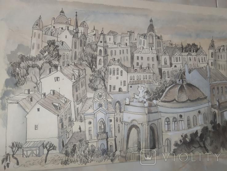Картина Одесса Графика Мельничук, 28х47 см, фото №8