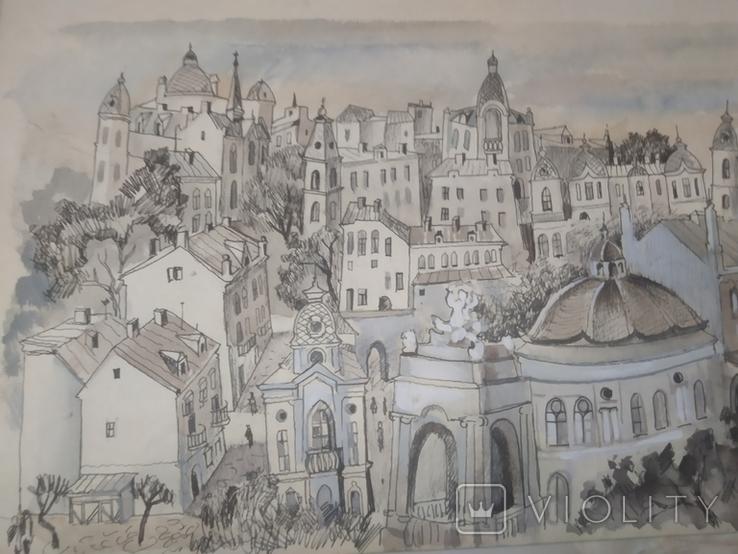 Картина Одесса Графика Мельничук, 28х47 см, фото №2