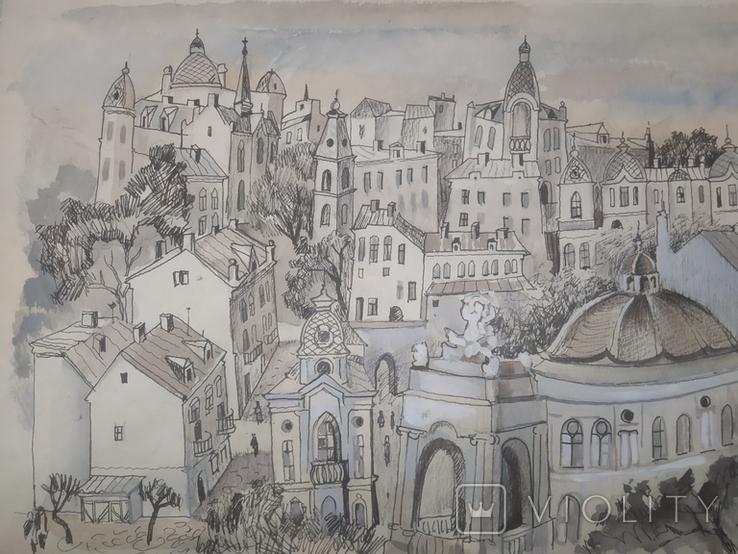 Картина Одесса Графика Мельничук, 28х47 см, фото №9