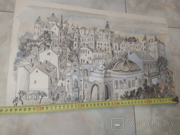 Картина Одесса Графика Мельничук, 28х47 см, фото №12