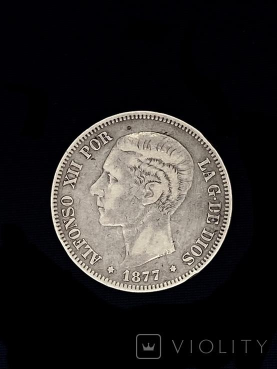 5 Песет Іспанія Срібло 1877 р., фото №2
