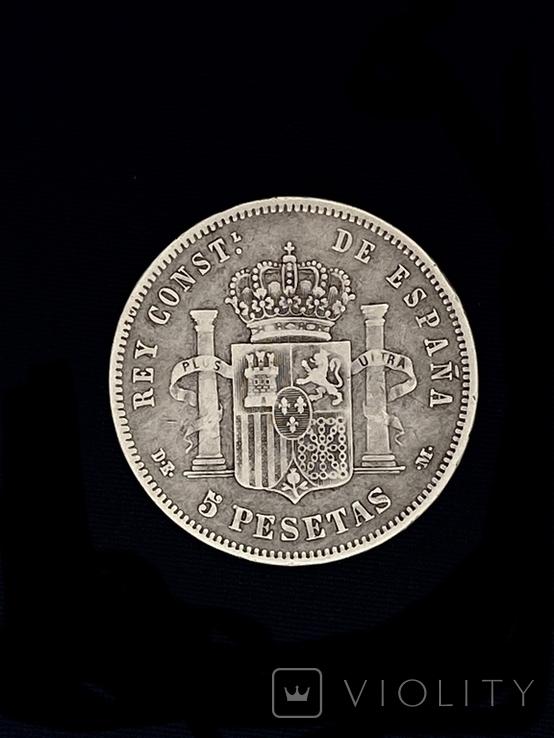 5 Песет Іспанія Срібло 1877 р., фото №3