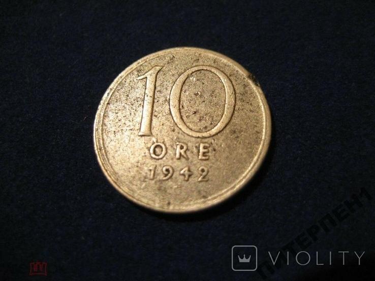 Швеция.10 эре 1942 G Тип 1, фото №2