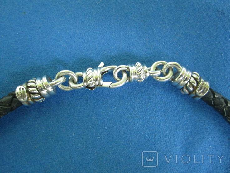 Кулон серебро,цирконии,кожа,магниты,родий., фото №6