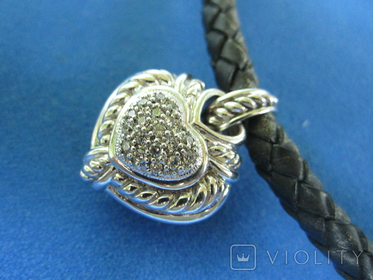 Кулон серебро,цирконии,кожа,магниты,родий., фото №11