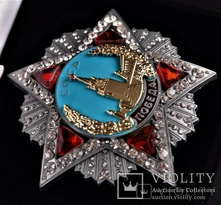 Орден Победа+ лента, Оригинал величина, в бархатном футляре, копия, фото №5
