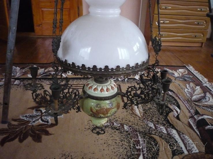 Старая большая чугунная керасиновая люстра австро венгрия, фото №2