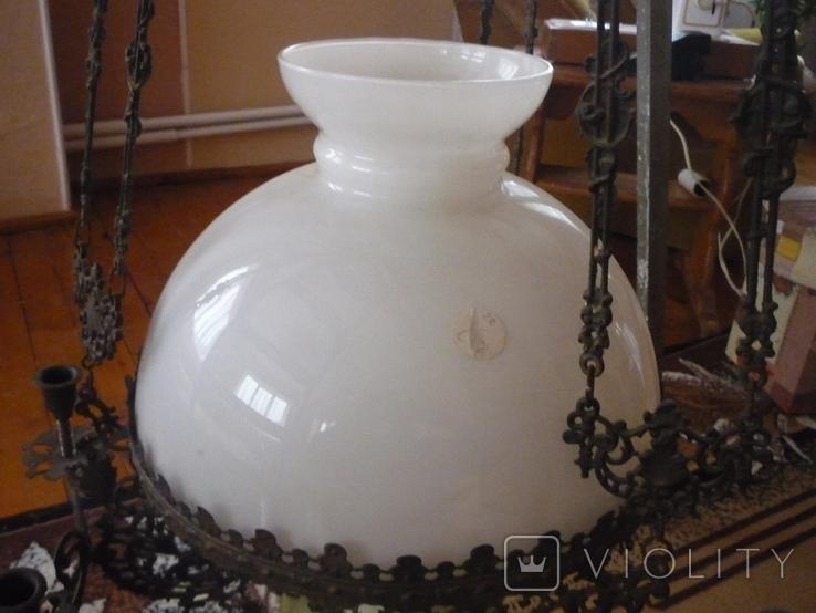 Старая большая чугунная керасиновая люстра австро венгрия, фото №5