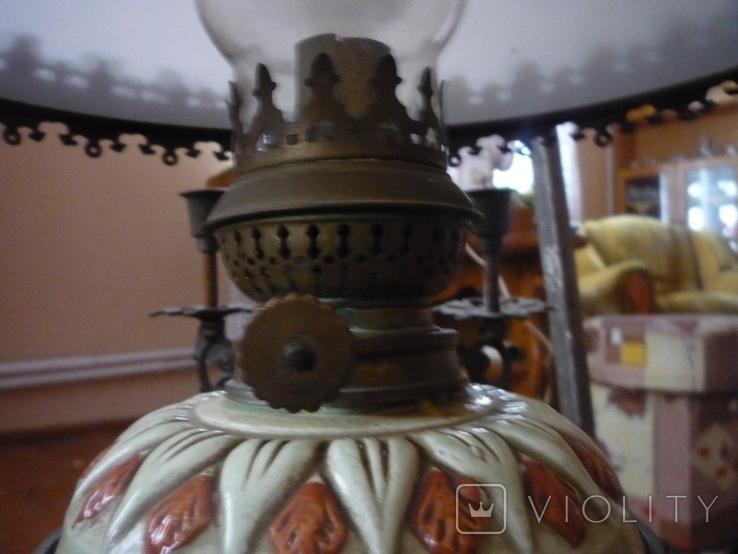 Старая большая чугунная керасиновая люстра австро венгрия, фото №8