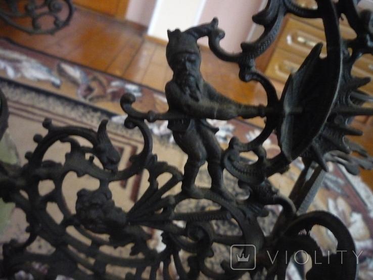 Старая большая чугунная керасиновая люстра австро венгрия, фото №11