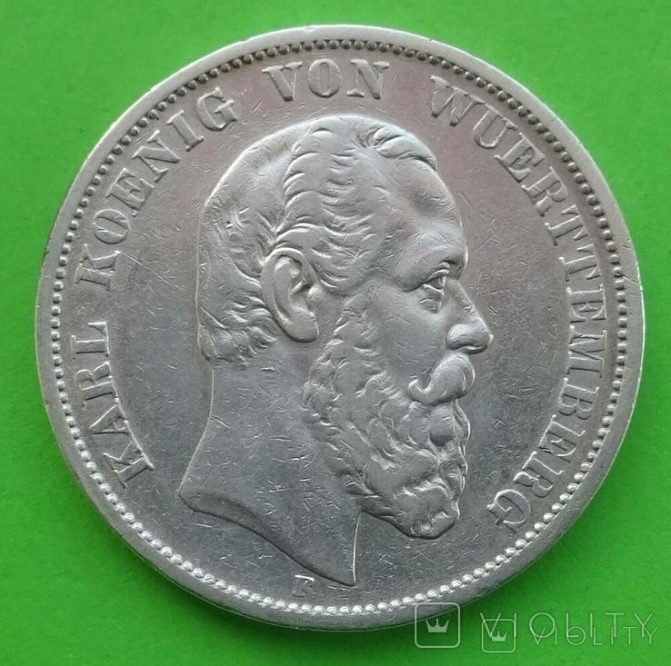 5 марок, Вюртемберг, 1875 год, Е, фото №2