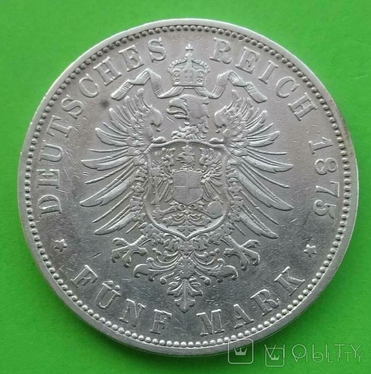 5 марок, Вюртемберг, 1875 год, Е, фото №5