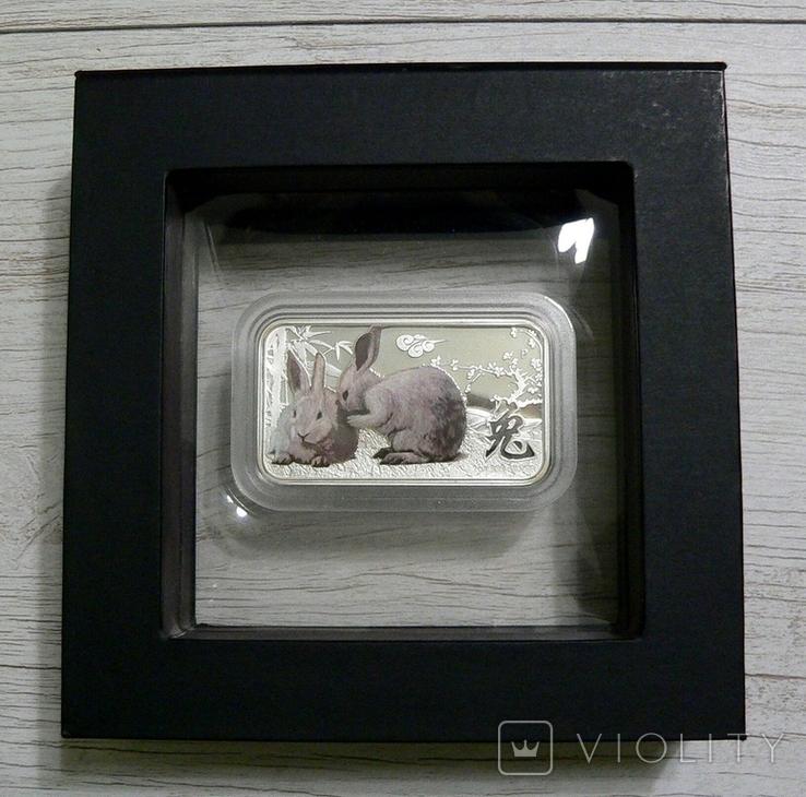 Год Кролика, ДВА БЕЛЫХ КРОЛИКА - унция, серебро 999, 1 доллар - 2011 - ПОЛНЫЙ КОМПЛЕКТ, фото №3