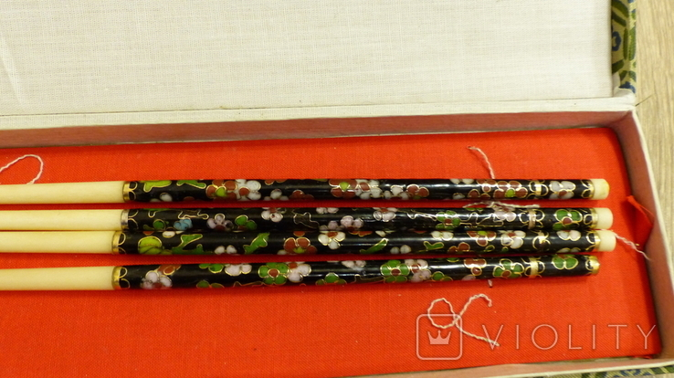 Китайские палочки с эмалями Клуазонне., фото №3
