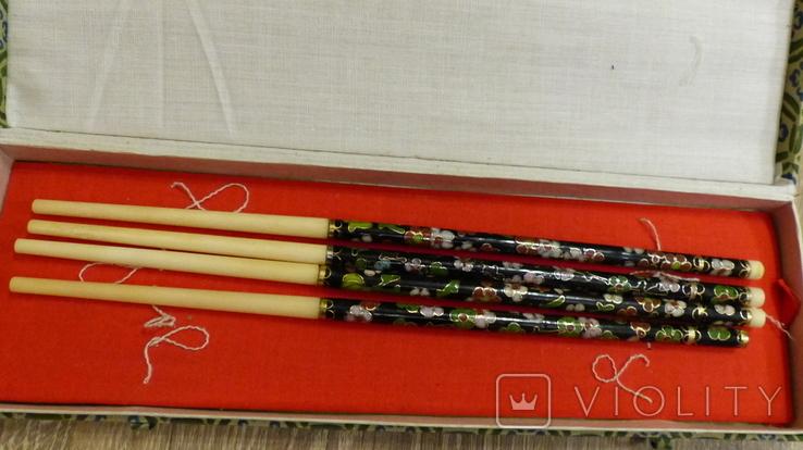 Китайские палочки с эмалями Клуазонне., фото №5