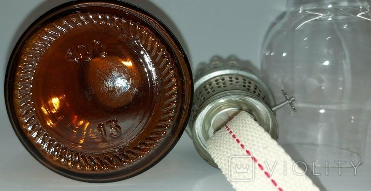 Лампа керосиновая СССР цветное стекло 1970-е годы керосинка, фото №9