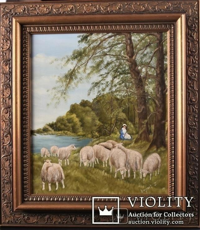 Картина. Сельский пейзаж. Масло. Подпись J.Lugert ., фото №2