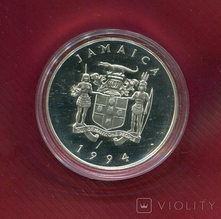 Ямайка 25 долларов 1994 серебро Королева Мать, фото №3