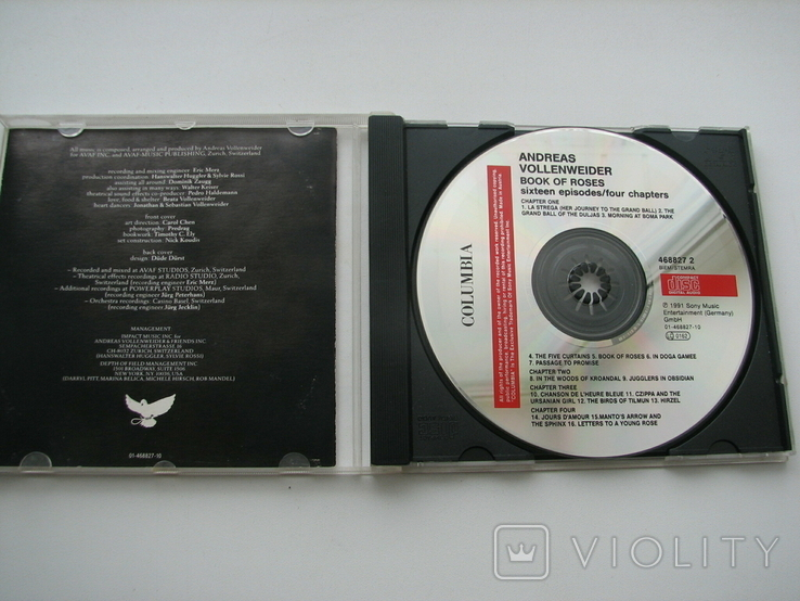 "ANDREAS VOLLENWEIDER""BOOK OF ROSES""1991г CD фирменный, фото №2"
