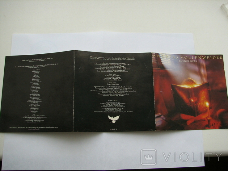 "ANDREAS VOLLENWEIDER""BOOK OF ROSES""1991г CD фирменный, фото №3"