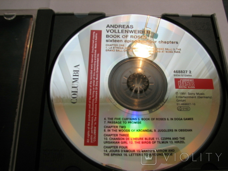 "ANDREAS VOLLENWEIDER""BOOK OF ROSES""1991г CD фирменный, фото №5"