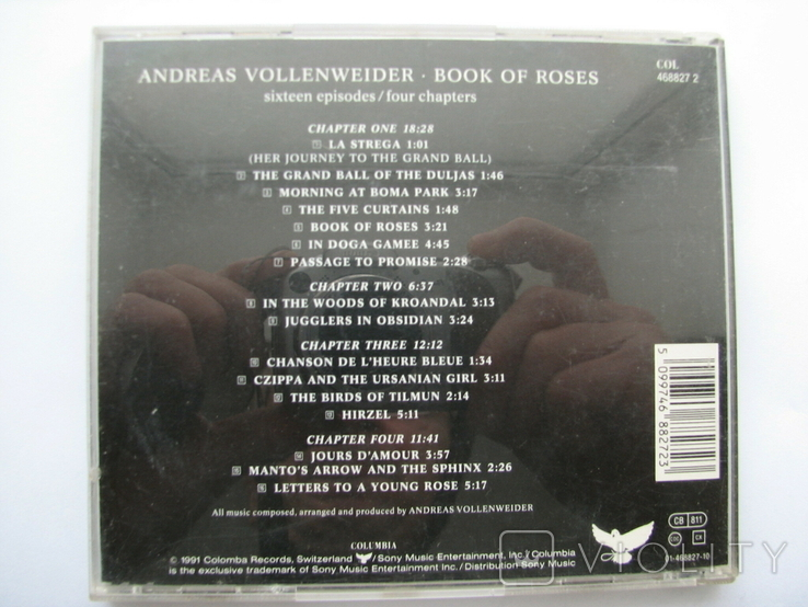 "ANDREAS VOLLENWEIDER""BOOK OF ROSES""1991г CD фирменный, фото №7"