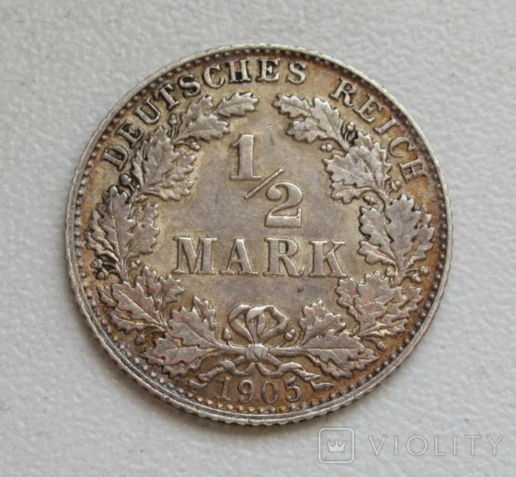 1/2 марки 1905 г. (D) Германия, серебро, фото №2
