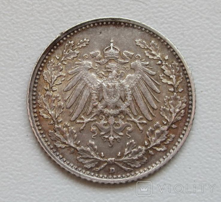 1/2 марки 1905 г. (D) Германия, серебро, фото №3