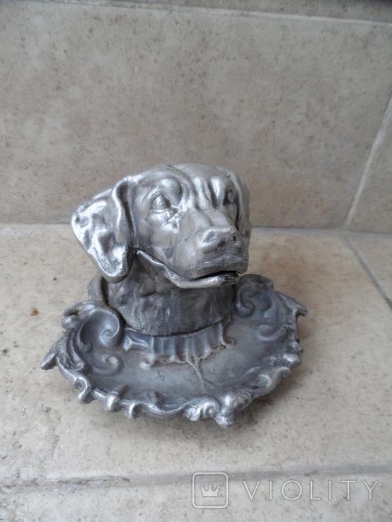Пепельница белая голова собаки металл СССР, фото №2