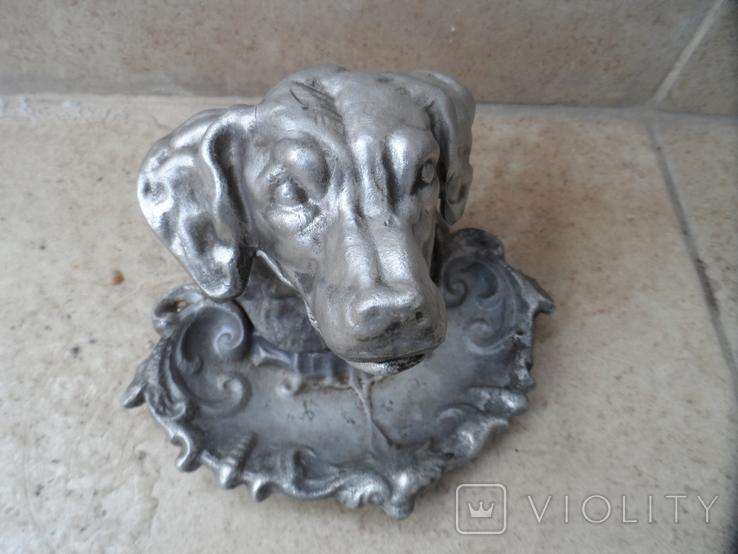 Пепельница белая голова собаки металл СССР, фото №4