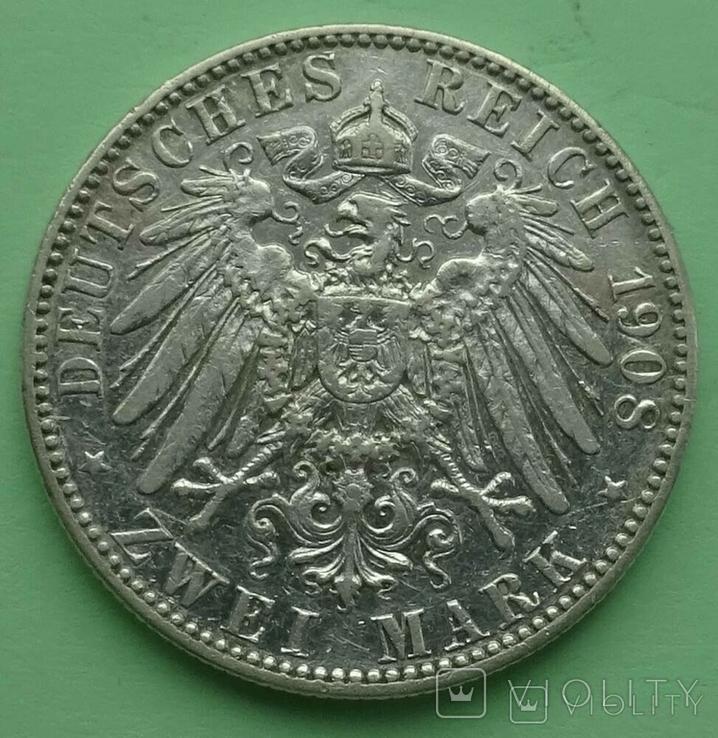 2 марки, 1908 год, Саксония., фото №7