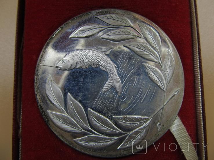 Серебряная медаль (не врученая) Победителя рыбной ловли, Англия, 1979г., 59гр., 5 см., фото №2
