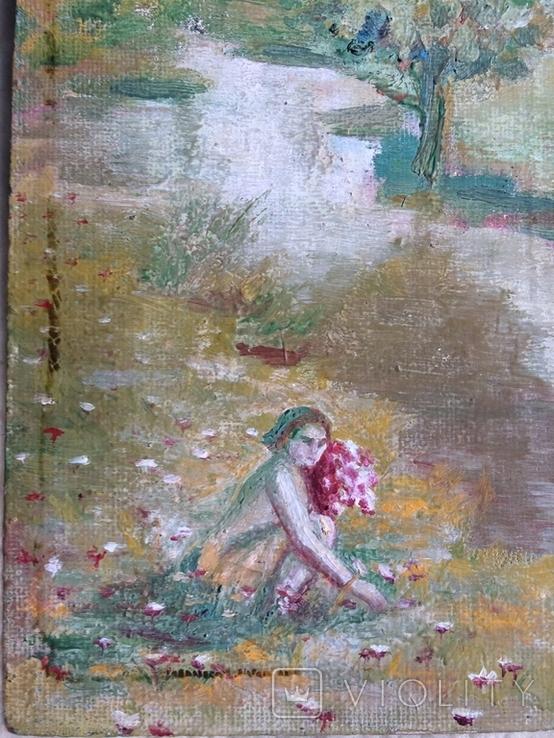 Дівчина з букетом 1967 підпис автора, фото №4