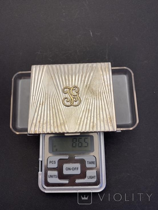 Серебряная пудреница с золотой накладкой, серебро, золото, фото №10